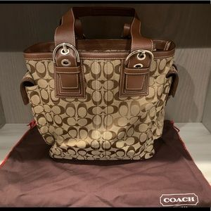 Coach leather and canvas tote